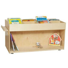 Mobile Book Browser with Heavy Duty Casters and Eight Sectioned Top - Assembled - 48