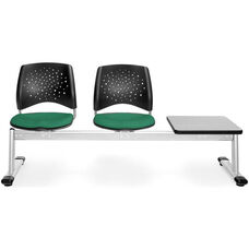 Stars 3-Beam Seating with 2 Shamrock Green Fabric Seats and 1 Table - Gray Nebula Finish
