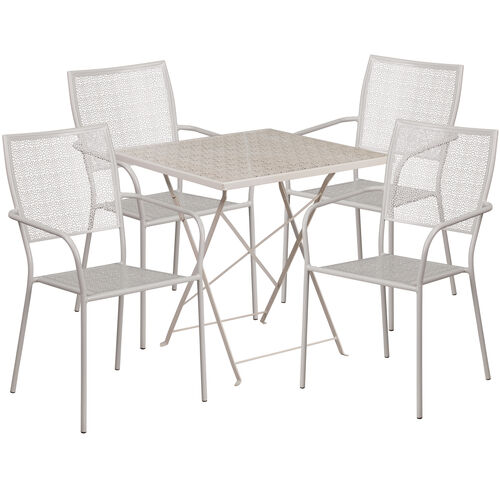 """Our Commercial Grade 28"""" Square Light Gray Indoor-Outdoor Steel Folding Patio Table Set with 4 Square Back Chairs is on sale now."""