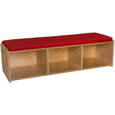 Contender Wooden Reading Bench with 3 Open Storage Compartments - Unassembled - 46.75''W x 12''D x 12.5''H