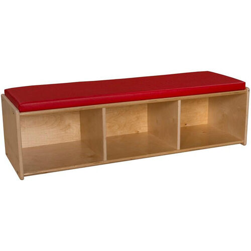 Contender Wooden Reading Bench with 3 Open Storage Compartments - Unassembled - 46.75