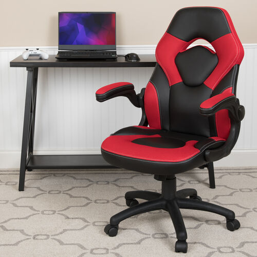 Our BlackArc X10 Gaming Chair Racing Office Ergonomic Computer PC Adjustable Swivel Chair with Flip-up Arms, Red/Black LeatherSoft is on sale now.