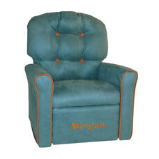 Kids Personalized 4 Button Microsuede Rocking Recliner with Pumpkin Trim - Tide Pool