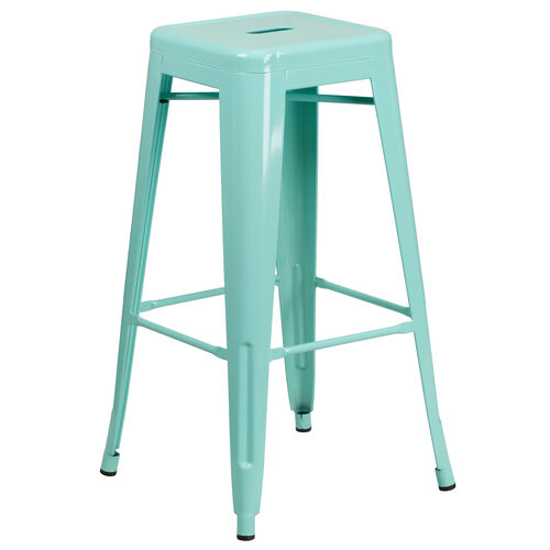 """Our Commercial Grade 30"""" High Backless Mint Green Indoor-Outdoor Barstool is on sale now."""