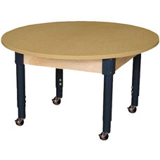 Mobile Round High Pressure Laminate Table with Adjustable Steel Legs - 42