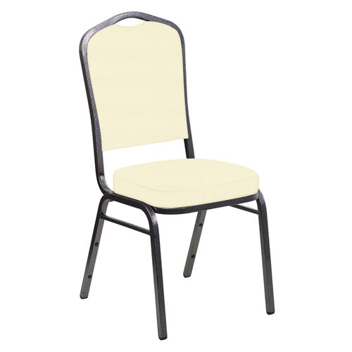 Our Embroidered E-Z Sierra Off White Vinyl Upholstered Crown Back Banquet Chair - Silver Vein Frame is on sale now.