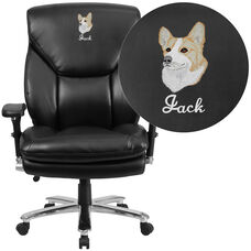 Embroidered HERCULES Series 24/7 Intensive Use Big & Tall 400 lb. Rated Black Leather Executive Swivel Chair with Lumbar Knob