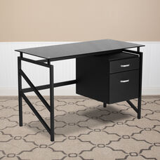 Glass Desk with Two Drawer Pedestal