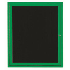 1 Door Indoor Illuminated Enclosed Directory Board with Green Anodized Aluminum Frame - 36