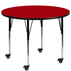 Mobile 60'' Round Red Thermal Laminate Activity Table - Standard Height Adjustable Legs