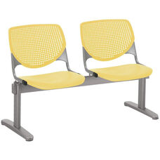 2300 KOOL Series Beam Seating with 2 Poly Perforated Back and Seats with Silver Frame - Yellow