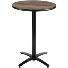 36'' Round Laminate Bistro Height Pedestal Table with Walnut Top - Black Arch X-Base