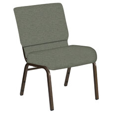 Embroidered 21''W Church Chair in Ravine Thyme Fabric - Gold Vein Frame