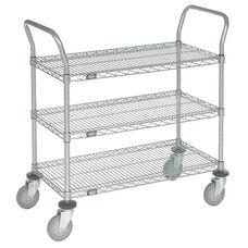 Chrome 3 Shelf Utility Cart-Polyurethane Casters - 18