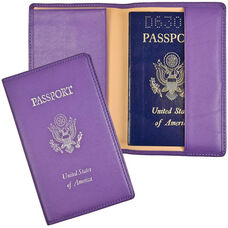 RFID Blocking Foil Stamped Passport Jacket - Top Grain Nappa Leather - Purple