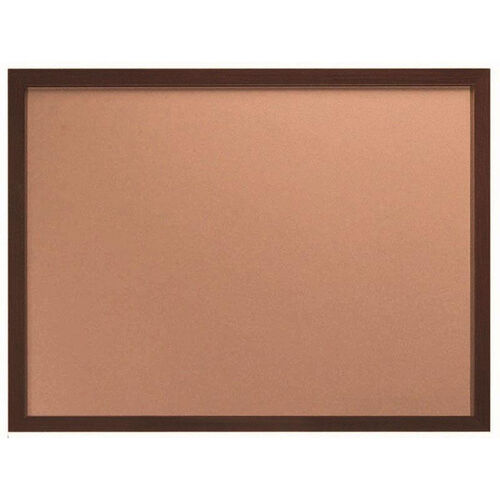 Our Architectural High Performance Natural Pebble Grain Cork Bulletin Board with Walnut Wood Grain Aluminum Trim - 36