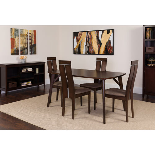 Graham 5 Piece Espresso Wood Dining Table Set with Clean Line Wood Dining Chairs - Padded Seats