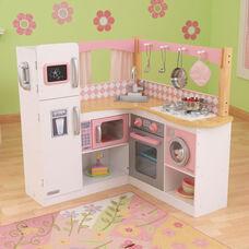 Kids Wooden Make-Believe Grand Gourmet Corner Kitchen Play Set - White and Pink