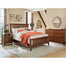 Inspired By Bassett Modern Mission Queen Bedroom Set with 2 Nightstands and 1 Dresser