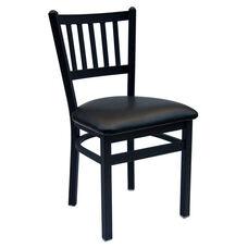 Troy Metal Slat Back Chair - Black Vinyl Seat