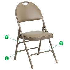 HERCULES Series Ultra-Premium Triple Braced Beige Vinyl Metal Folding Chair with Easy-Carry Handle