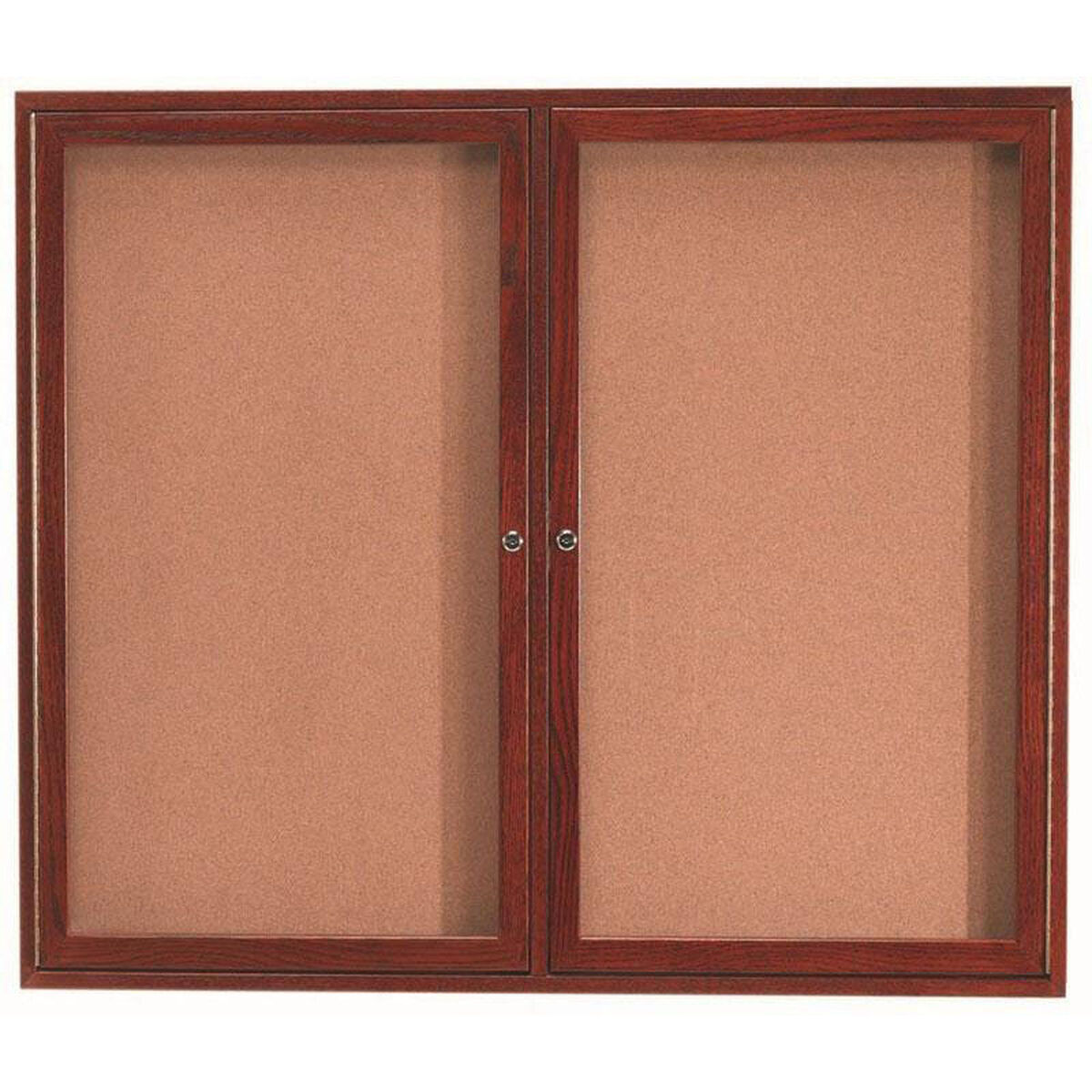 2 Door Enclosed Bulletin Board With Cherry Finish 48h X 60w