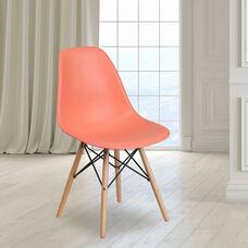 Elon Series Peach Plastic Chair with Wooden Legs