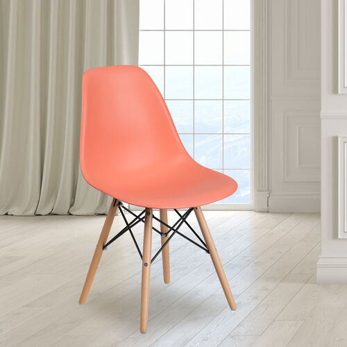 Our Elon Series Peach Plastic Chair with Wooden Legs is on sale now.