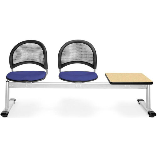 Our Moon 3-Beam Seating with 2 Royal Blue Fabric Seats and 1 Table - Oak Finish is on sale now.