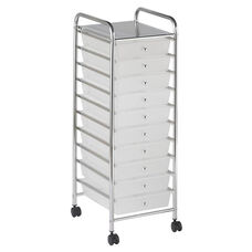 10 Drawer Mobile Organizer with Chrome-Plated Top Shelf and White Pullout Drawers