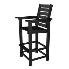 POLYWOOD® Captain Collection Bar Stool - Black