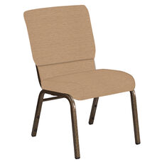 Embroidered 18.5''W Church Chair in Tahiti Taupe Fabric - Gold Vein Frame