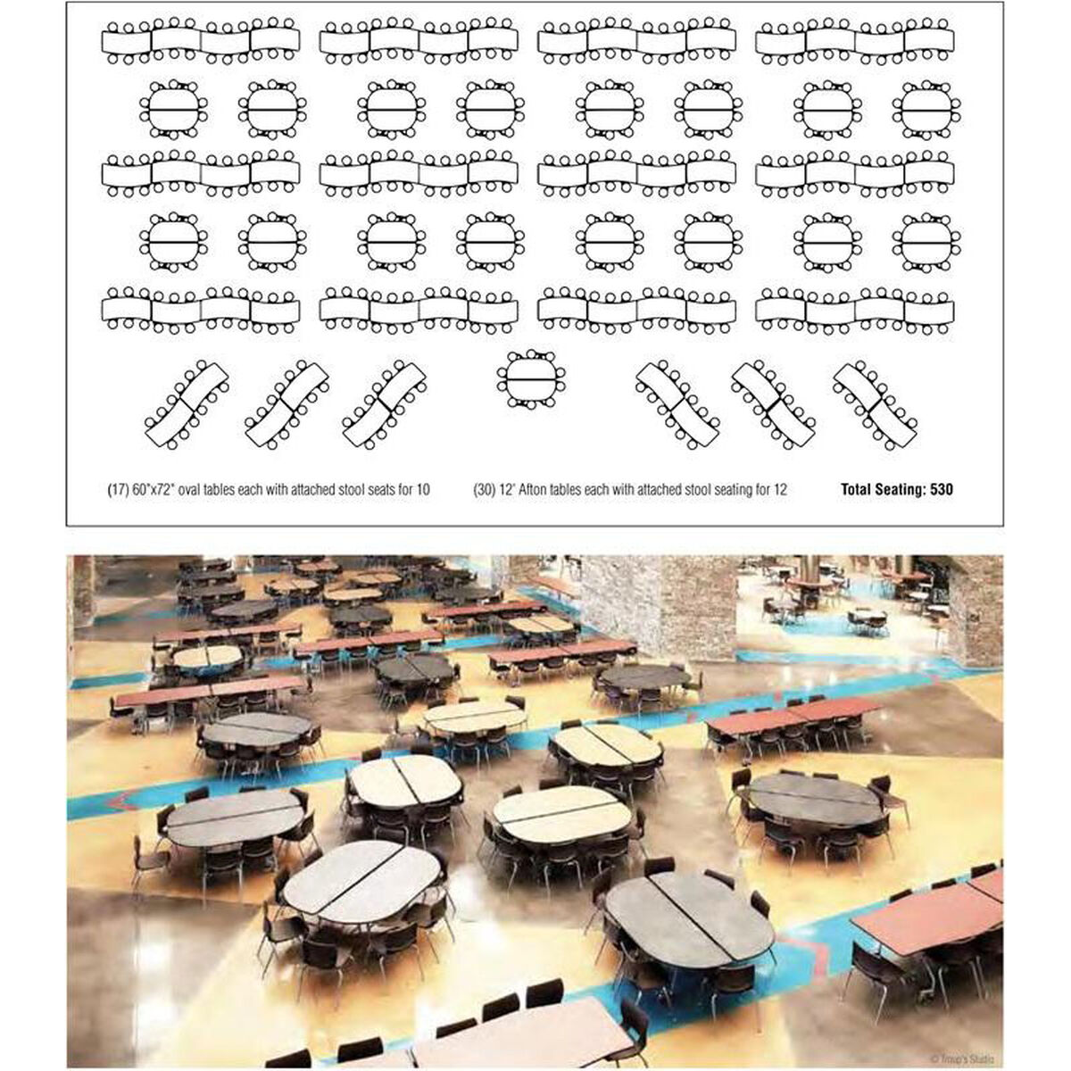 Biofit afton edgescape foldable cafeteria table with 12 for 120 round table seats how many