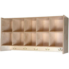 Wooden Wall Mounted Wall Locker with 10 Storage Compartments - 48