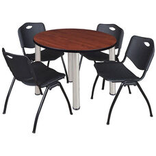 Kee 36'' Round Laminate Breakroom Table with 4 ''M'' Stack Chairs - Cherry Table Finish with Chrome Legs and Black Chairs