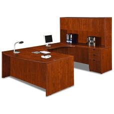 Cherry Bow Front Desk Executive U Suite
