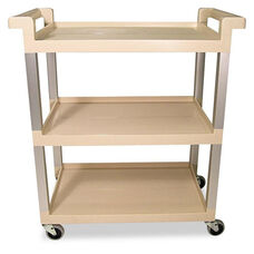 Rubbermaid® Commercial Three-Shelf Service Cart w/Brushed Aluminum Upright - 16-1/4 x 31-1/2 x 36 - Beige