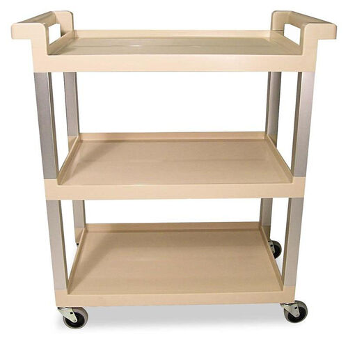 Our Rubbermaid® Commercial Three-Shelf Service Cart w/Brushed Aluminum Upright - 16-1/4 x 31-1/2 x 36 - Beige is on sale now.