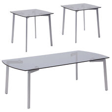 Brighton Collection 3 Piece Coffee and Square End Table Set with Smoked Glass Tops and Silver Metal Legs