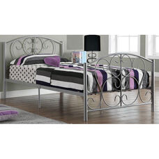 Decorative Metal Bed Frame with Mattress Support - Twin - Silver