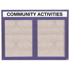 2 Door Outdoor Enclosed Bulletin Board with Header and Blue Powder Coated Aluminum Frame - 48