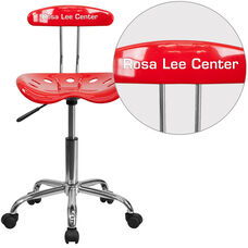 Personalized Vibrant Red and Chrome Swivel Task Office Chair with Tractor Seat