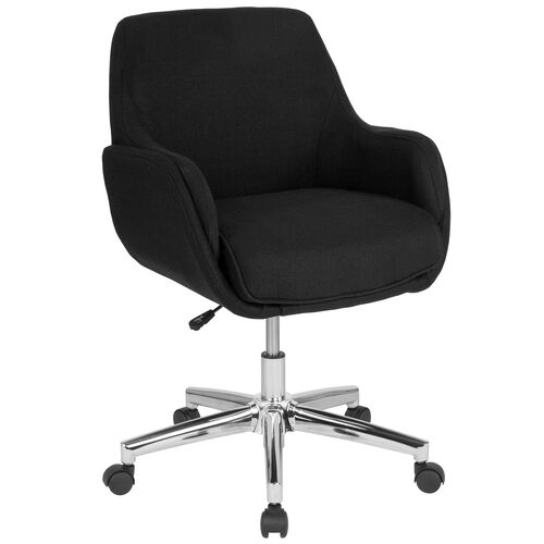 Our Rochelle Home and Office Upholstered Mid-Back Chair in Black Fabric is on sale now.