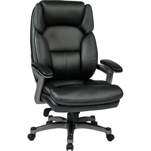 Our Work Smart Executive Eco Leather Chair with PU Padded Arms and Titanium Finish Coated Base - Black is on sale now.