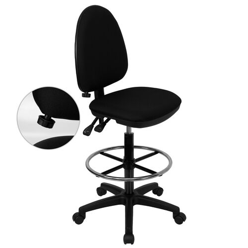 Our Mid-Back Black Fabric Multifunction Ergonomic Drafting Chair with Adjustable Lumbar Support is on sale now.