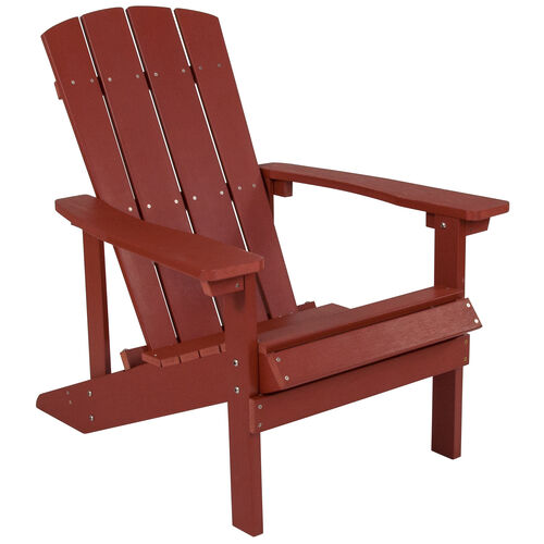 Our Charlestown All-Weather Adirondack Chair in Red Faux Wood is on sale now.