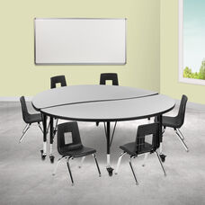 "Mobile 60"" Circle Wave Collaborative Laminate Activity Table Set with 12"" Student Stack Chairs, Grey/Black"