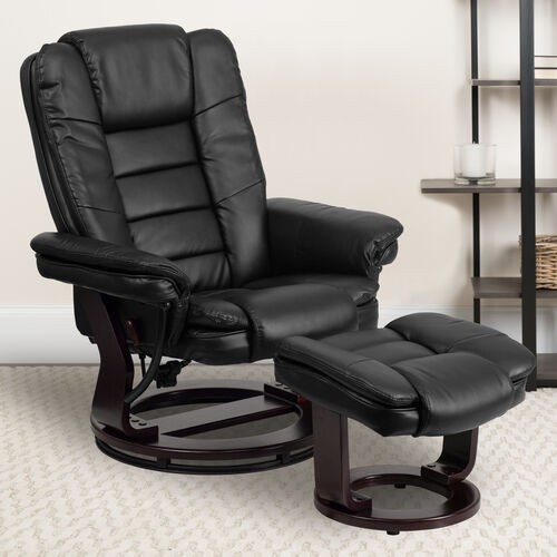 Contemporary LeatherSoft Recliner with Horizontal Stitching and Ottoman with Swiveling Mahogany Wood Base