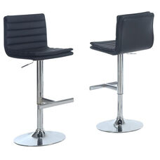 Faux Leather and Chrome Adjustable Height Barstool with Waterfall Seat - Black - Set of 2