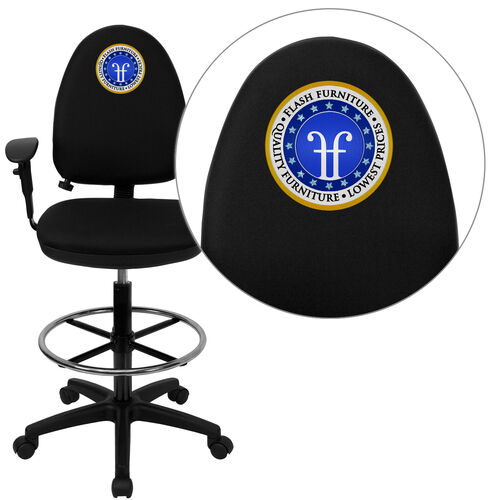 Embroidered Mid-Back Multi-Functional Ergonomic Drafting Chair with Adjustable Lumbar Support and Height Adjustable Arms
